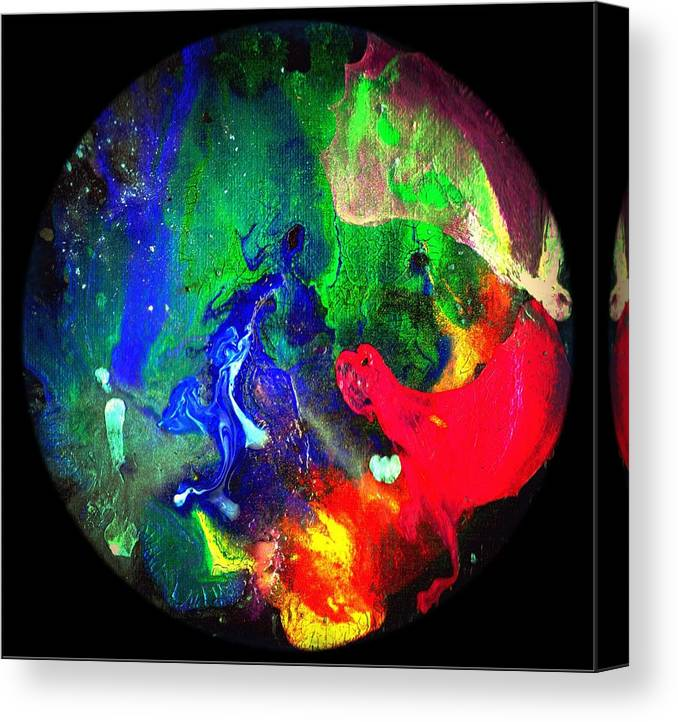 Round Canvas Print featuring the painting Abstract - Evolution Series 1002 by Dina Sierra