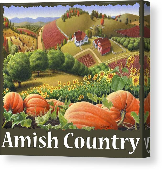 Pumpkin Canvas Print featuring the painting Amish Country T Shirt - Pumpkin Patch Country Farm Landscape 2 by Walt Curlee