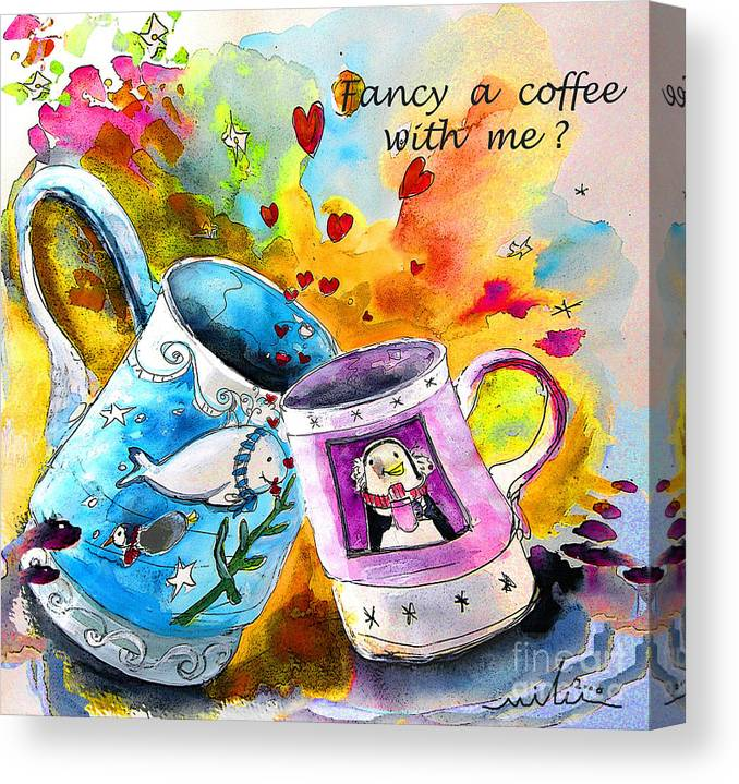 Cafe Crem Canvas Print featuring the painting Fancy A Coffee by Miki De Goodaboom