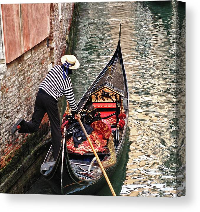 Gondola Canvas Print featuring the photograph Gondola In Venice by Linda Pulvermacher