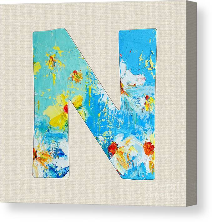 Letter Art Print.Letter N Roman Alphabet A Floral Expression Typography Art Canvas Print