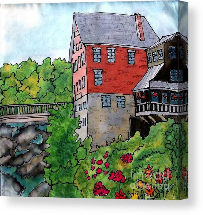 Old Mill Canvas Print featuring the painting Old Mill In Bradford by Linda Marcille