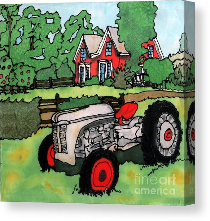 Silk Canvas Print featuring the painting Red House And Tractor by Linda Marcille