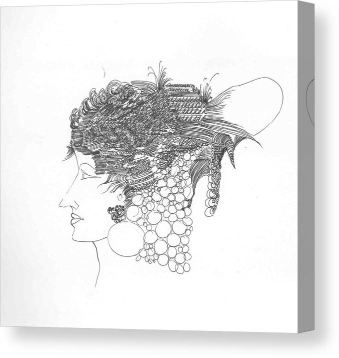 Women Canvas Print featuring the drawing Woman With Headgear by Padamvir Singh