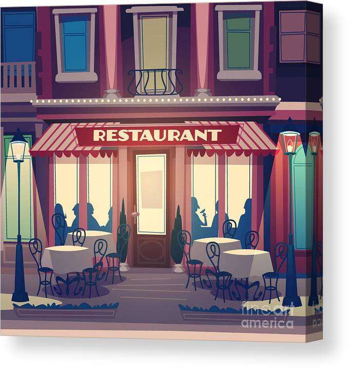 Diner Canvas Print featuring the digital art Restaurant Facade. Retro Style Vector by Doremi