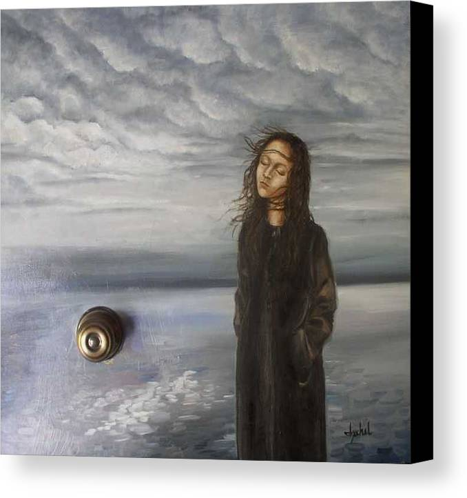 Door Knob Canvas Print featuring the painting Door 2 by Ixchel Amor