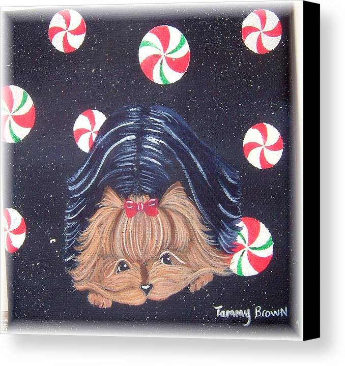 Dog Canvas Print featuring the painting Sweet Treats For Yorkie by Tammy Brown