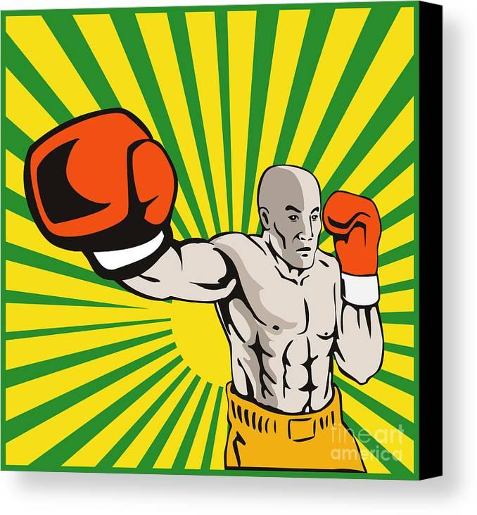 Boxer Canvas Print featuring the digital art Boxer Boxing Jabbing Front by Aloysius Patrimonio