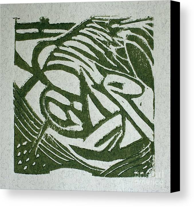 Lino Cut Canvas Print featuring the mixed media Hidden Horse by Christiane Schulze Art And Photography