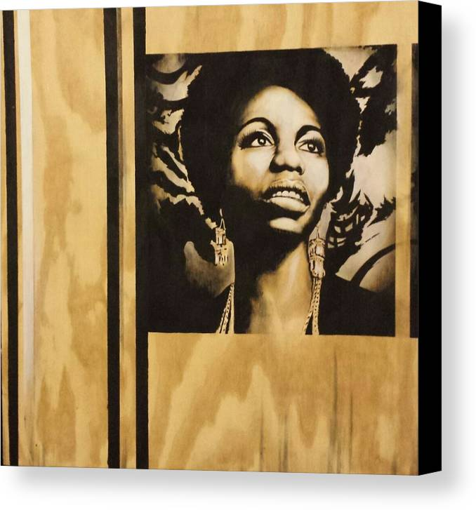 Nina Simone Canvas Print featuring the painting Nina by Melanie T