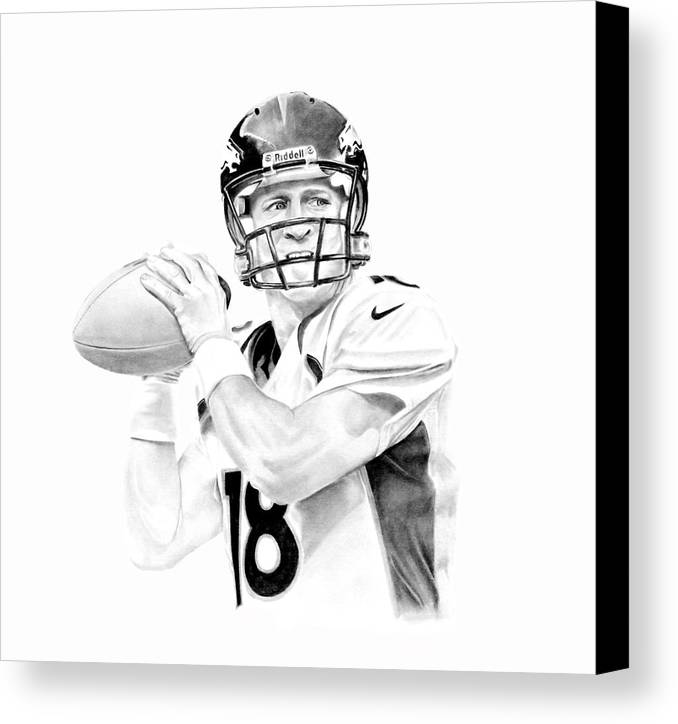 Manning Canvas Print featuring the drawing Peyton Manning by Don Medina
