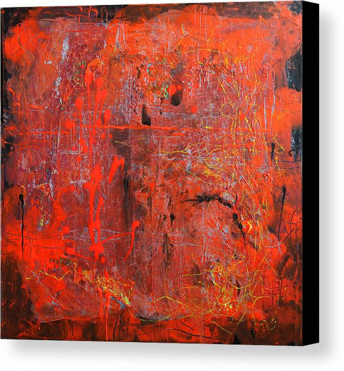 Red Canvas Print featuring the painting Red Ice by Lolita Bronzini