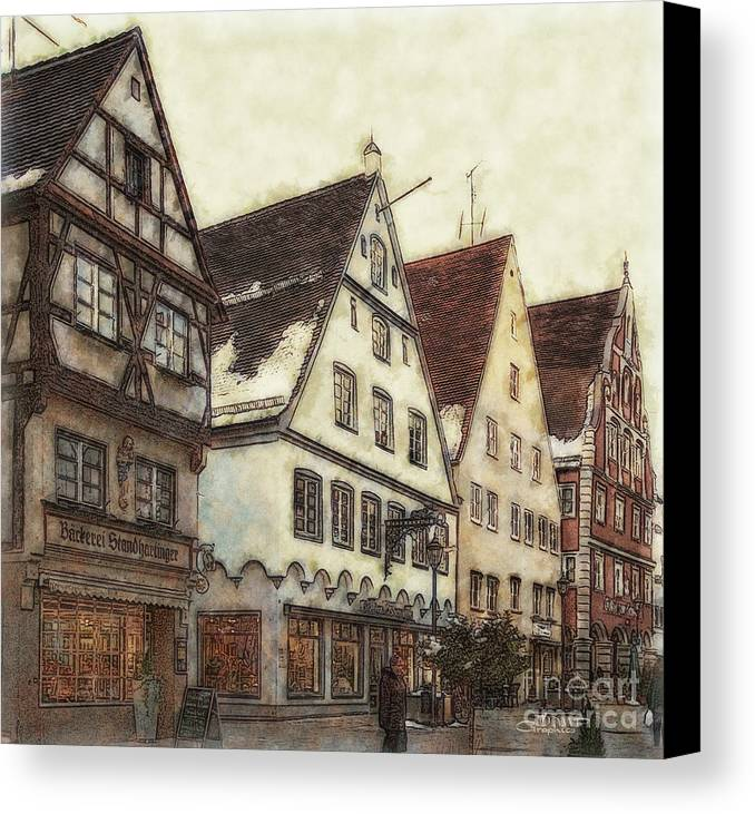 Photo Canvas Print featuring the photograph Winterly Old Town by Jutta Maria Pusl