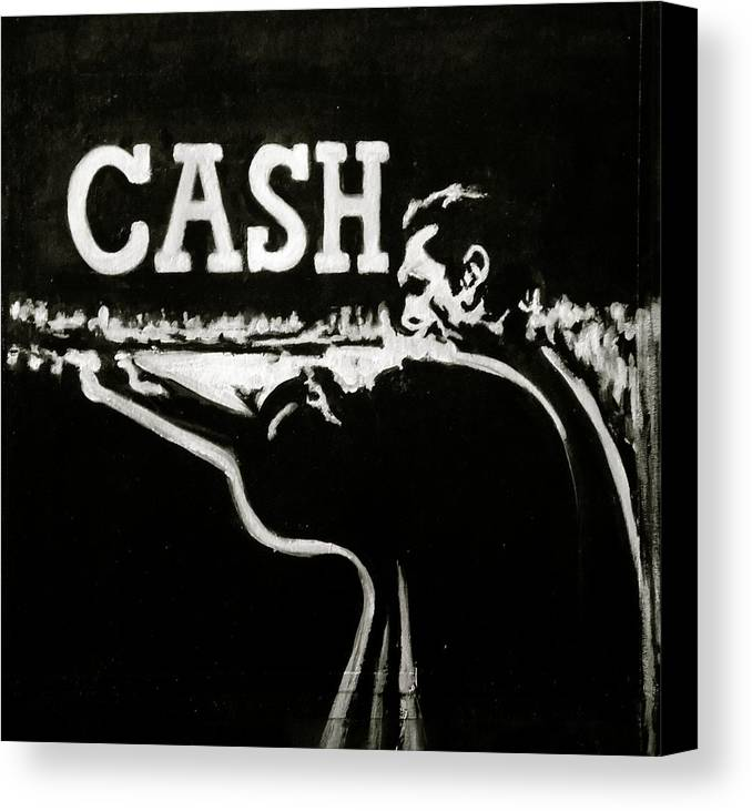 Johnny Cash Canvas Print featuring the painting Cash by Pete Maier