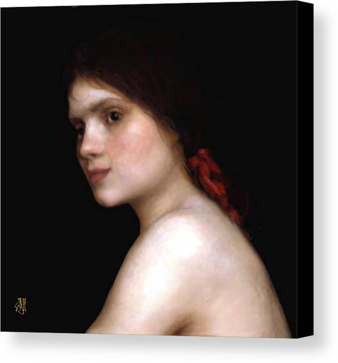 Portrait Of A Young Woman. Canvas Print featuring the digital art Angela's Ribbon by John Helgeson