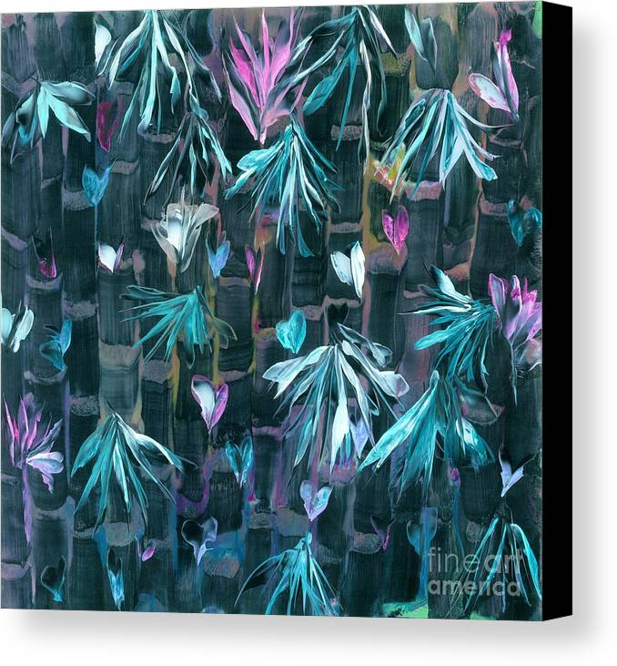 #bamboo Canvas Print featuring the painting Bamboo And Butterflies by Lisa Grogan
