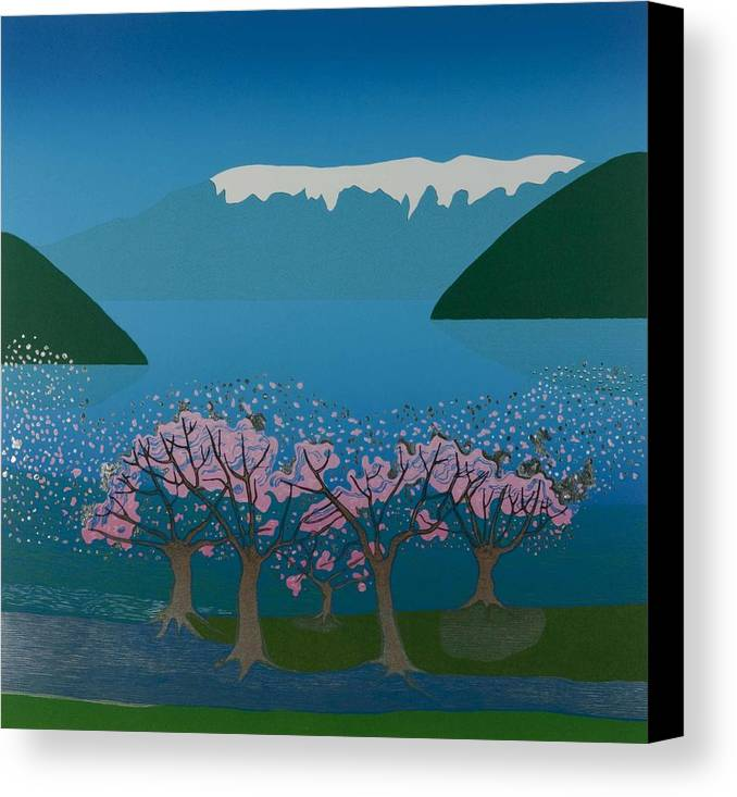 Landscape Canvas Print featuring the mixed media Blossom In The Hardanger Fjord by Jarle Rosseland