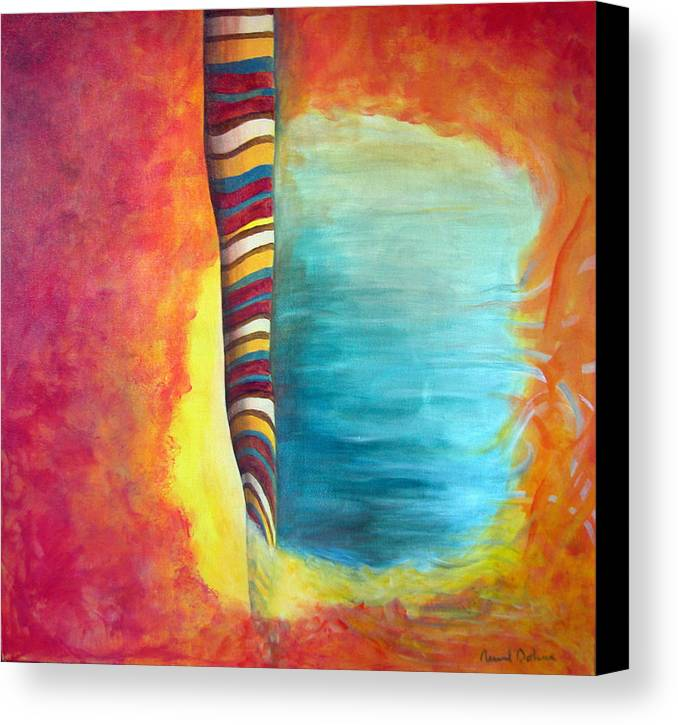 Abstract Canvas Print featuring the painting Cafe by Muriel Dolemieux