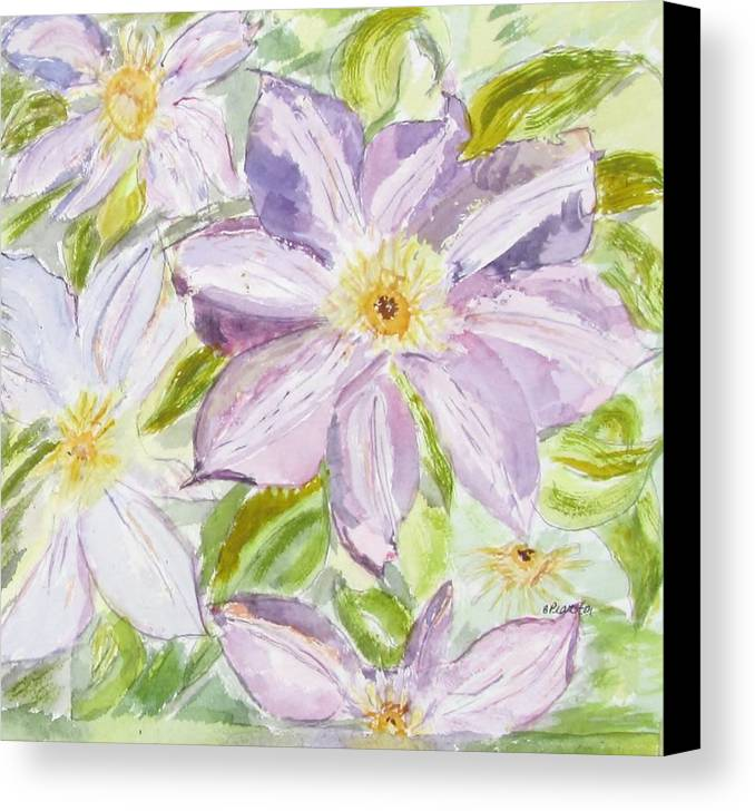 Flower Canvas Print featuring the painting Climatis by Barbara Pearston