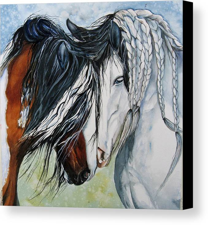 Equine Canvas Print featuring the painting Companions by Gina Hall
