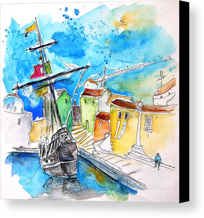 Portugal Canvas Print featuring the painting Conquistador Boat In Portugal by Miki De Goodaboom