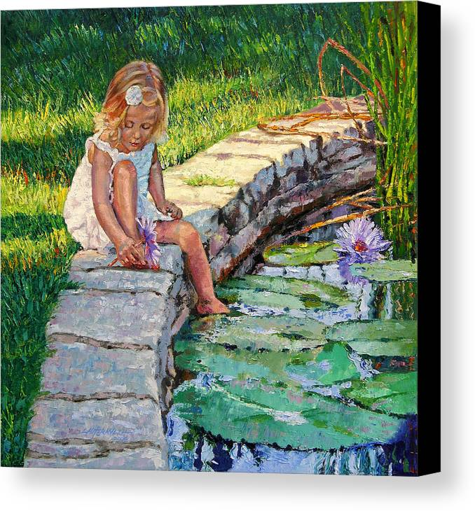 Small Girl Canvas Print featuring the painting Enjoying Yesterdays Sunlight by John Lautermilch