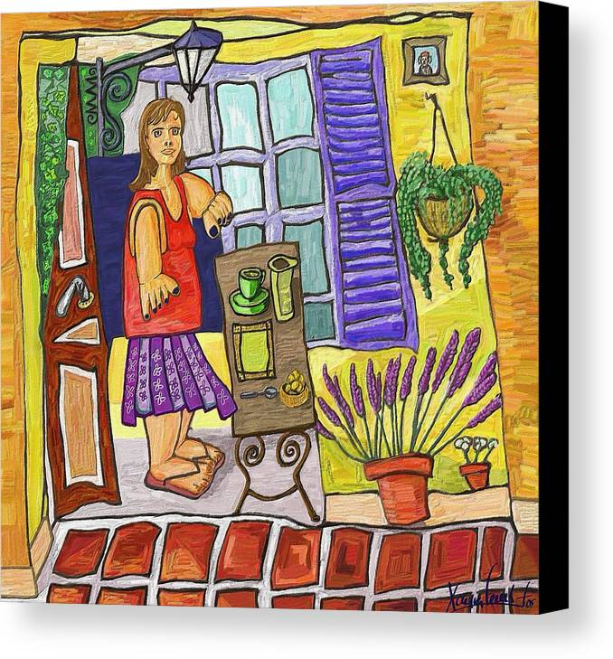 Still Life Canvas Print featuring the painting Esmorzant En Provence by Xavier Ferrer
