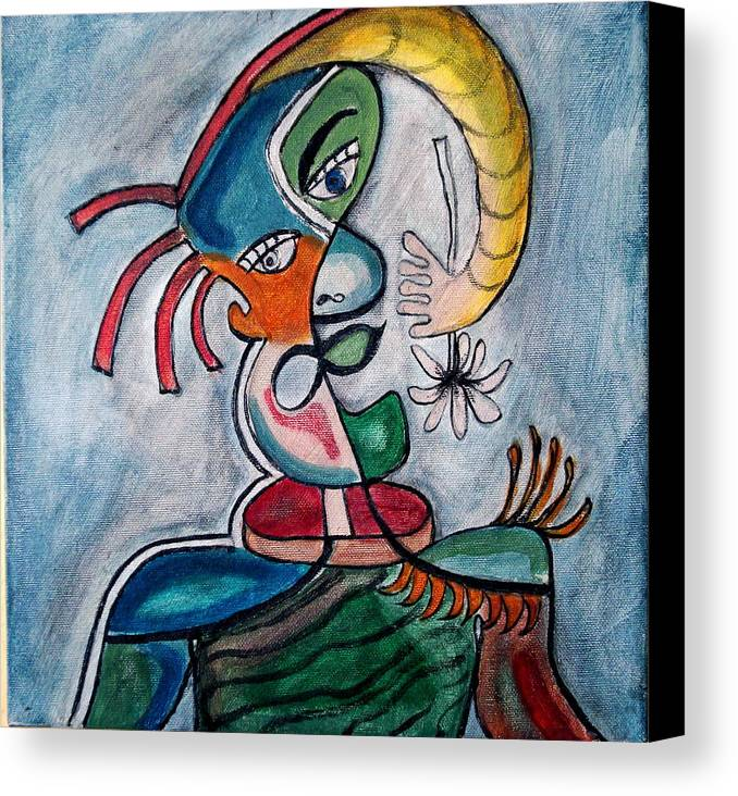 Abstract Face Canvas Print featuring the painting Hand Me A Flower by W Todd Durrance