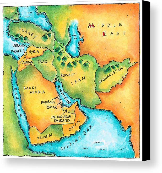Horizontal Canvas Print featuring the digital art Map Of The Middle East by Jennifer Thermes