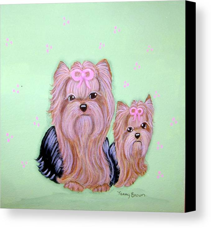Yorkshire Terrier Canvas Print featuring the painting Mother's Love by Tammy Brown