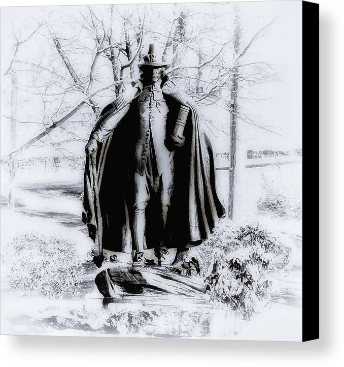 Fairmount Park Canvas Print featuring the photograph Quaker Pilgrim by Bill Cannon