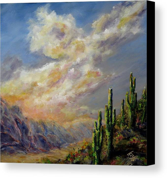 Larizona Andscape Canvas Print featuring the painting Summer Sunrise by Thomas Restifo