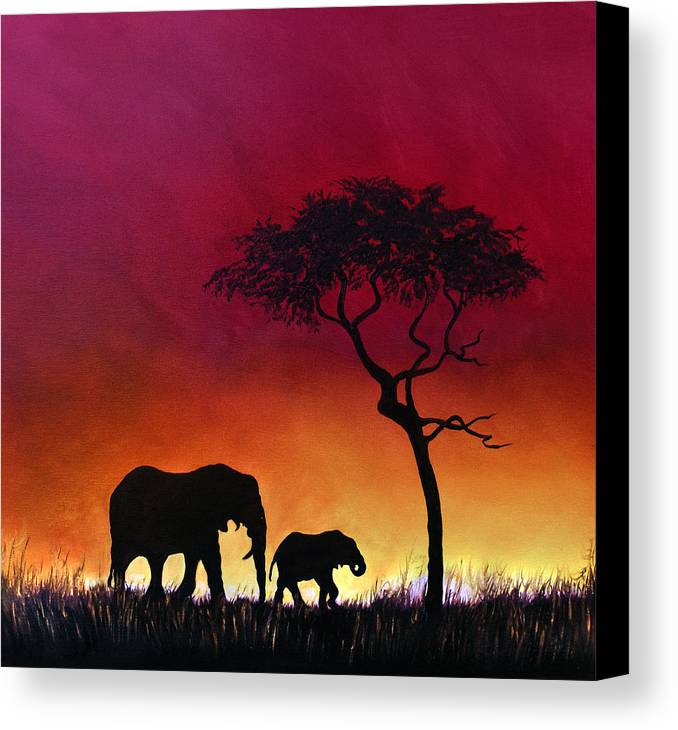 Elephants Canvas Print featuring the painting Sunset Stroll by Linda Woodward