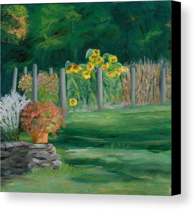 Landscape Canvas Print featuring the painting The Farm Gardens by Paula Emery