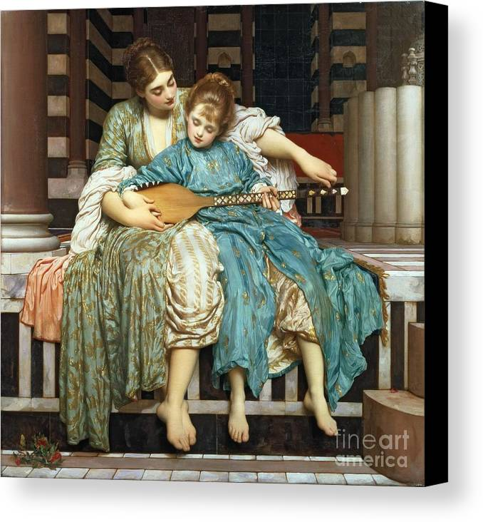 The Music Lesson Canvas Print featuring the painting The Music Lesson by Frederic Leighton