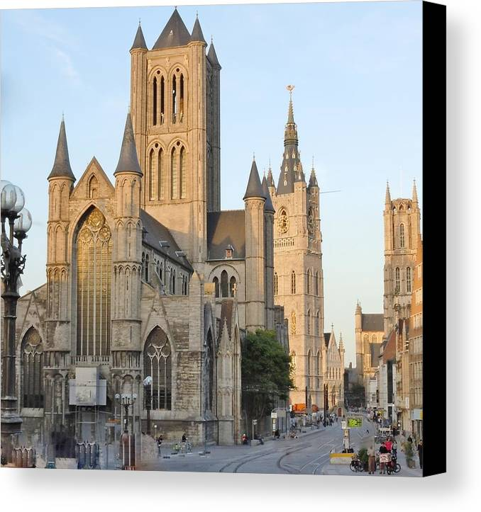 Europe Canvas Print featuring the photograph The Three Towers Of Gent by Marilyn Dunlap