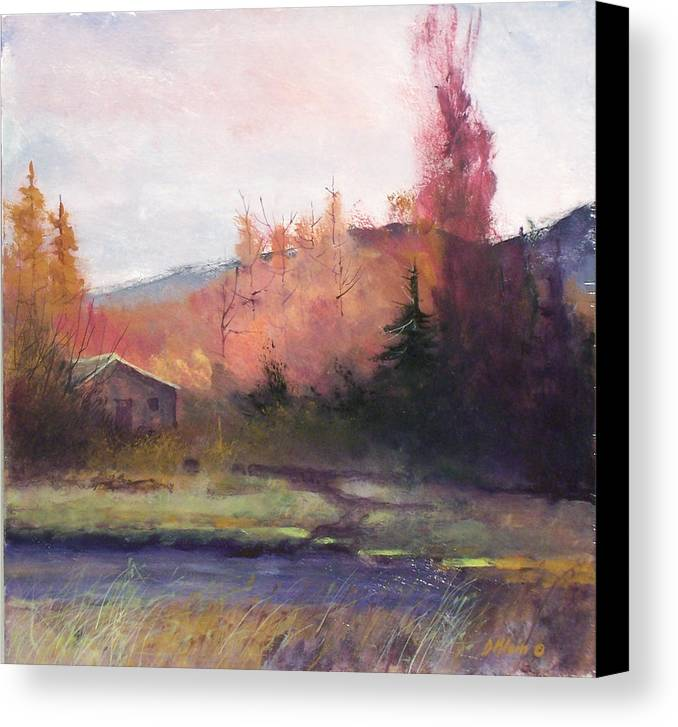 Landscape Canvas Print featuring the painting Yaak Cabin by Dalas Klein