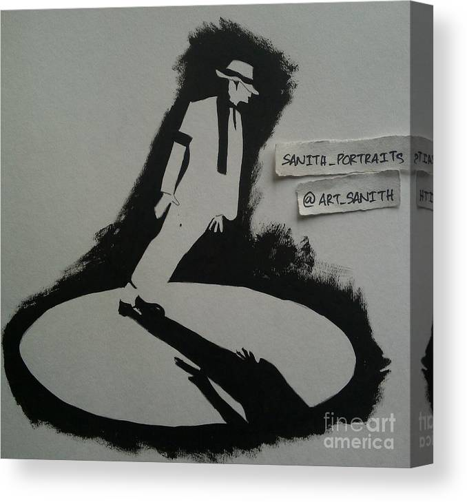 Canvas Print featuring the drawing Stencil - Mj by Sanith Raj S
