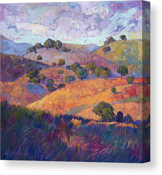 Rolling Hills Canvas Print featuring the painting Hills Of Paso by Erin Hanson