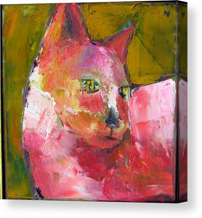 Cat Canvas Print featuring the painting Pink Kitty by Patricia Curtis
