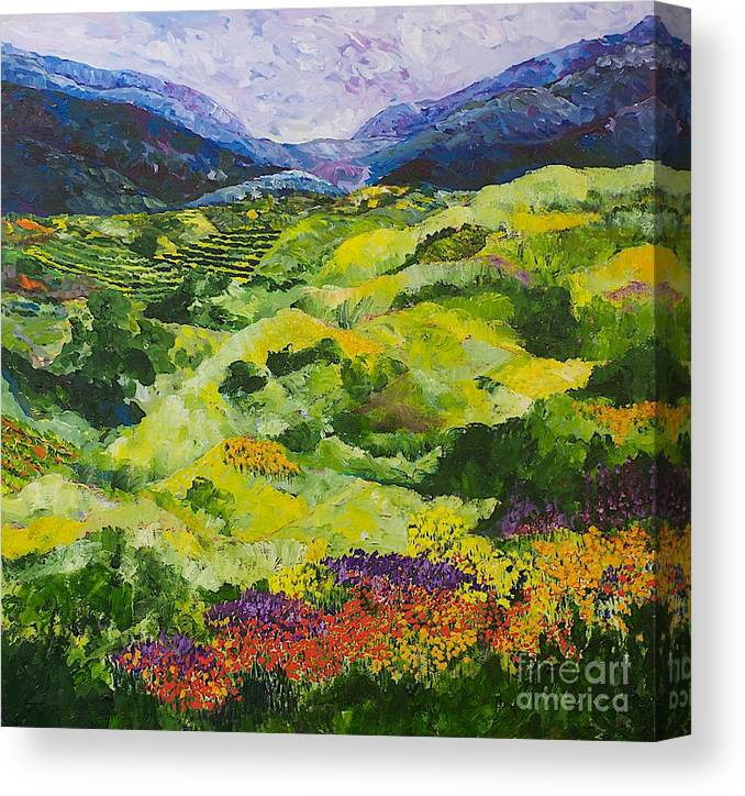 Landscape Canvas Print featuring the painting Soft Grass by Allan P Friedlander