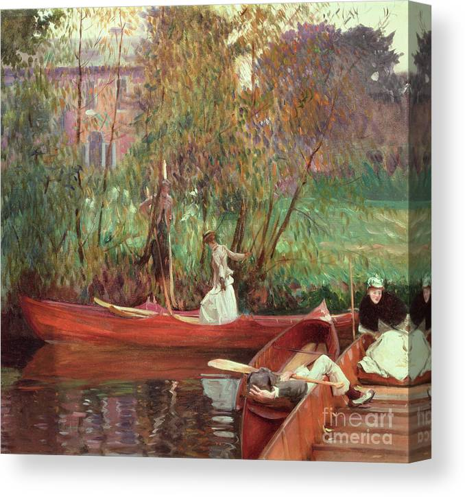 A Boating Party (oil On Canvas) By John Singer Sargent (1856-1925) Canvas Print featuring the painting A Boating Party by John Singer Sargent
