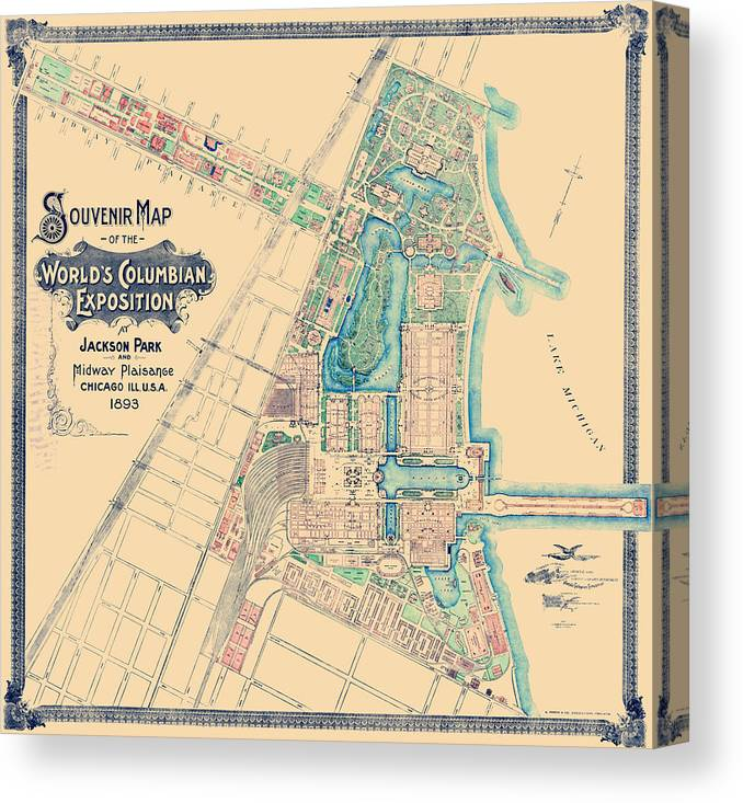graphic about Printable Maps of Chicago referred to as Chicago Worlds Reasonable - Columbian Exposition Map - 1893 Canvas Print