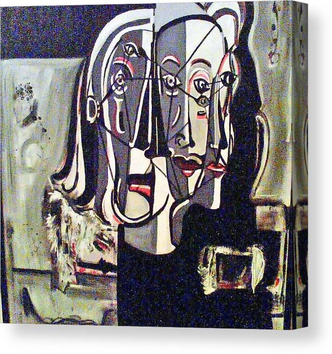 Abstract Portrait Modern Art Canvas Print featuring the painting Connected by DC Campbell