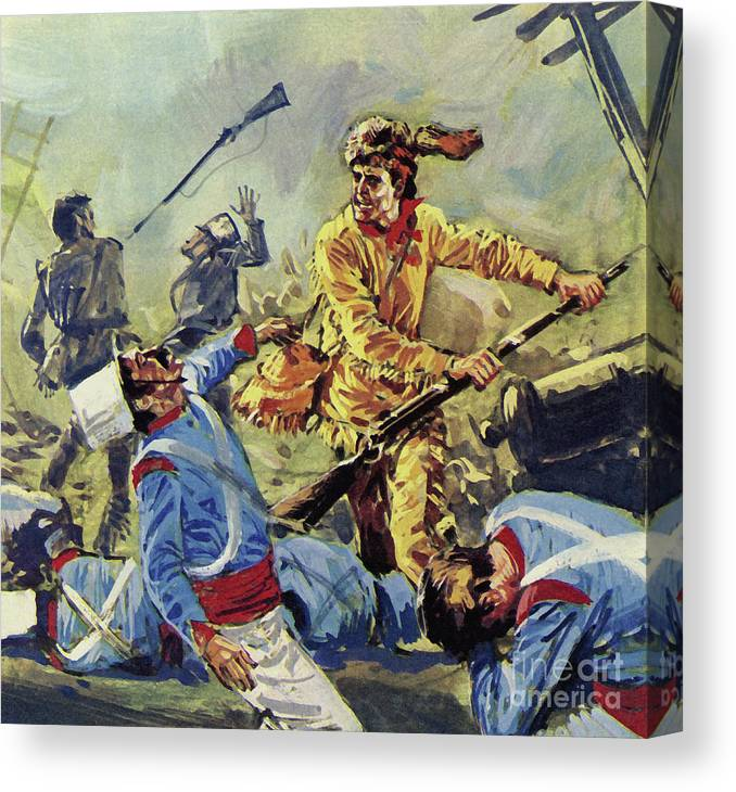 Davy Crockett Eventually Fell To The Ceaseless Mexican Attacks Canvas Print featuring the painting Davy Crockett Eventually Fell To The Ceaseless Mexican Attacks by Luis Arcas Brauner