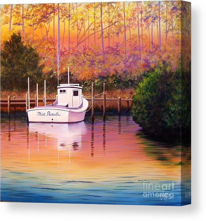 Landscape Canvas Print featuring the painting Evening Glow by Hugh Harris
