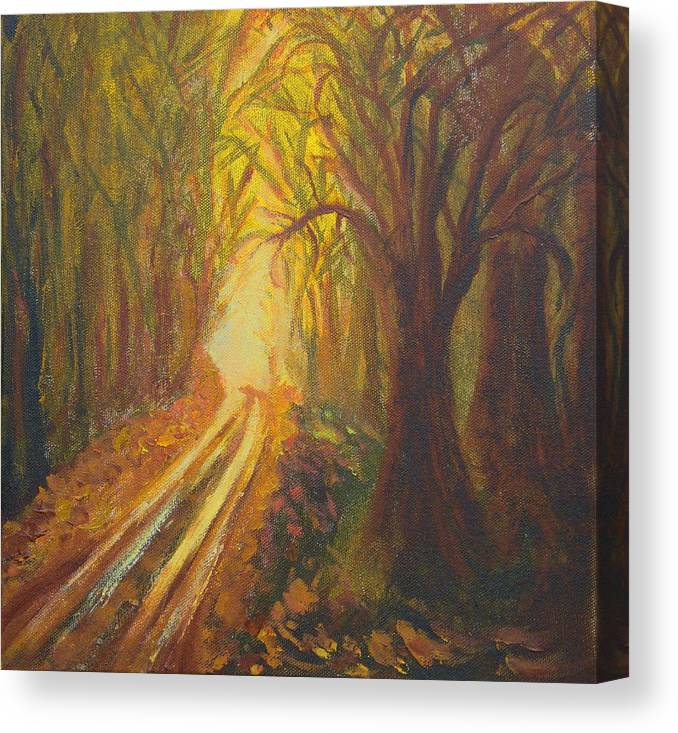Forest Canvas Print featuring the painting Light Down The Road by Margaret G Calenda