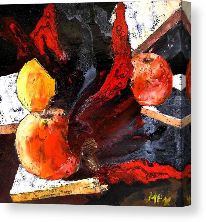 Canvas Print featuring the painting Red Apples by Evguenia Men