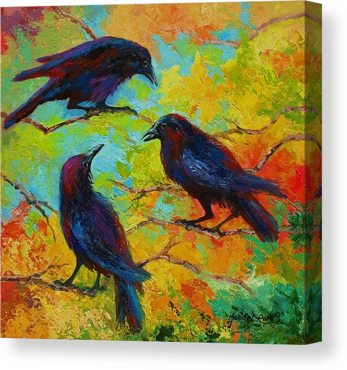 Crows Canvas Print featuring the painting Roundtable Discussion - Crows by Marion Rose