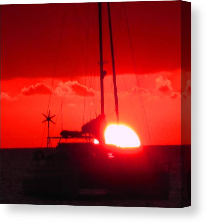 Sunset Canvas Print featuring the photograph Slipping Over The Edge by Ian MacDonald